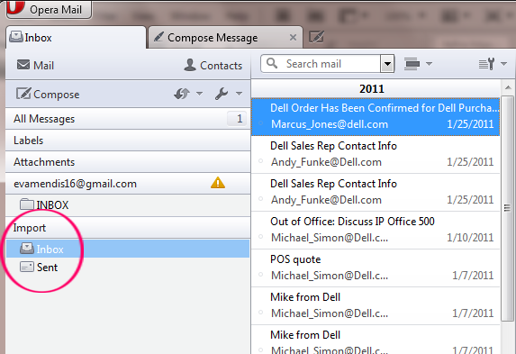 Lotus Notes emails to Opera Mail